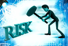 3d man hit risk text with hammer illustration Stock Image