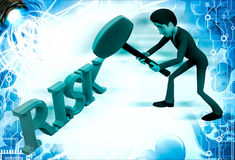3d man hit risk text with hammer illustration Stock Photo