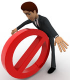 3d man hit by stop symbol concept Royalty Free Stock Photos
