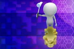 3d man hitting golden puzzle illustration Stock Photography