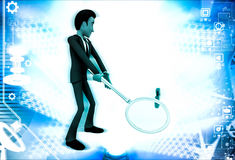 3d man hitting red question mark using magnifying glass illustration Royalty Free Stock Photo