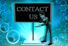 3d man with a hoarding of contact us illustration Royalty Free Stock Photo