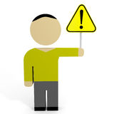 3D man hold attention sign. Stock Photo