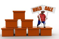 3d man hold sale Royalty Free Stock Photography