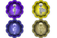 3d man hold sign board icons Stock Photo