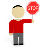 3D man hold stop sign. Royalty Free Stock Photography
