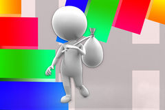 3d Man Holding Bag Illustration Stock Images