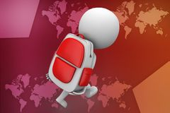 3d Man holding bag illustration Stock Image