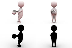 3d man holding ball concept collections with alpha and shadow channel Royalty Free Stock Images