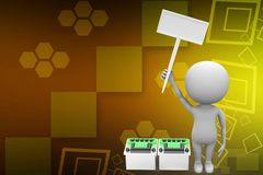 3d Man Holding Banner Near To Battery illustration Royalty Free Stock Image