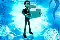 3d man holding big folder in hand illustration Stock Photography