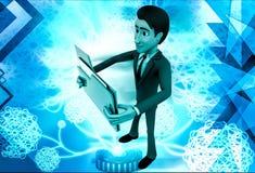 3d man holding big folder in hand illustration Royalty Free Stock Photo
