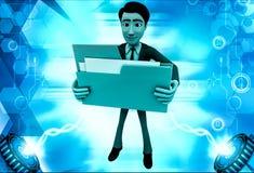 3d man holding big folder in hand illustration Stock Photo
