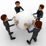 3d man holding big globe concept Stock Photo