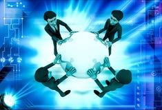 3d man holding big globe illustration Royalty Free Stock Image