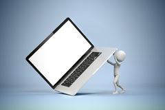 3d man holding a big laptop. 3d man,holding a big laptop, business concept Royalty Free Stock Photography