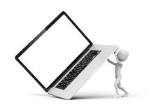 3d man holding a big laptop. 3d man,holding a big laptop, business concept Royalty Free Stock Photos