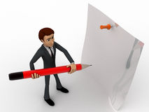 3d man holding big pencil and write on clip board concept Royalty Free Stock Image