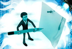 3d man holding big pencil and write on clip board illustration Stock Photo