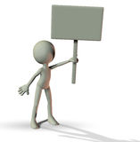 3D man holding a blank board. With shadow Stock Photos