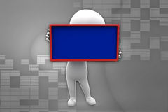 3d man  holding board illustration Royalty Free Stock Image