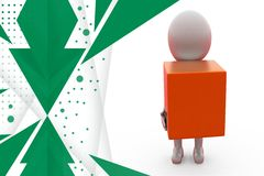 3d man holding box illustration Royalty Free Stock Photo