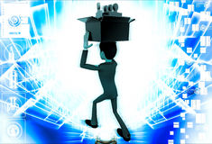 3d man holding box of puzzle pieces on head illustration Royalty Free Stock Images
