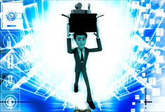 3d man holding box of puzzle pieces on head illustration Royalty Free Stock Image