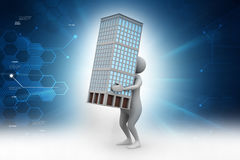 3d man holding a bulding. In color background Stock Photo
