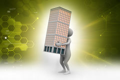 3d man holding a bulding. In color background Royalty Free Stock Image