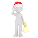 3d man holding a bullhorn standing saluting. 3d man wearing a red Santa hat holding a bullhorn in one hand standing saluting in a concept of public speaking or Stock Photos
