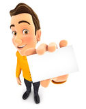 3d man holding business card Royalty Free Stock Image