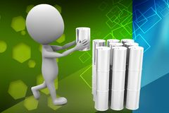 3d man holding can illustration Royalty Free Stock Images
