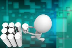 3d man holding can illustration Stock Photography