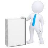 3d man holding a changeover advertising stand. Isolated render on a white background Royalty Free Stock Photography