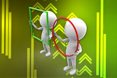 3d man holding circle and square illustration Stock Image