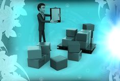 3d man holding clipboard standing aside boxes illustration Royalty Free Stock Photos