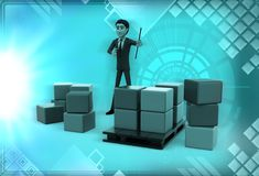 3d man holding clipboard standing aside boxes illustration Stock Photography