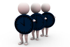 3d man holding clock concept Royalty Free Stock Image