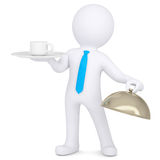 3d man holding a coffee cup on a platter Stock Images
