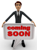 3d man holding coming soon chat bubble concept Stock Photo