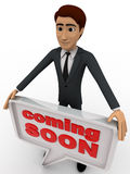 3d man holding coming soon chat bubble concept Royalty Free Stock Photos