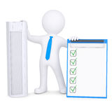 3d man holding conditioner and checklist Royalty Free Stock Images