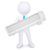 3d man holding a conditioner. Royalty Free Stock Photography