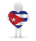 3d man holding a Cuban Flag. Small 3d man holding a Cuban Flag Royalty Free Stock Photo