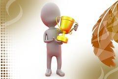 3d man holding cup award  illustration Stock Photos