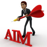 3d man holding dart in hands and with aim text concept Royalty Free Stock Photography