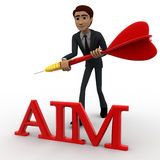 3d man holding dart in hands and with aim text concept Royalty Free Stock Images