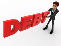 3d man holding debt red text in hand concept Royalty Free Stock Photography
