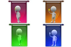 3D Man holding dollar concept icon Stock Images